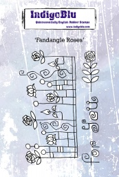 Fandangle Roses A6 Red Rubber Stamp by Kay Halliwell-Sutton